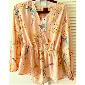 Women's pink floral blouse